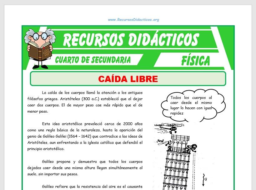 Ficha de Ejercicios de Movimiento Vertical de Caída Libre para Cuarto de Secundaria