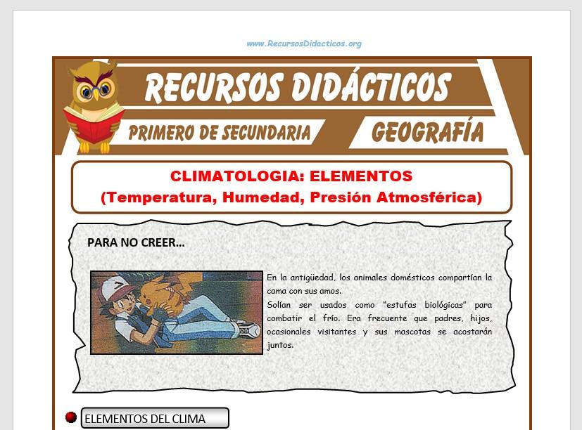 Ficha de Elementos del Clima para Primero de Secundaria