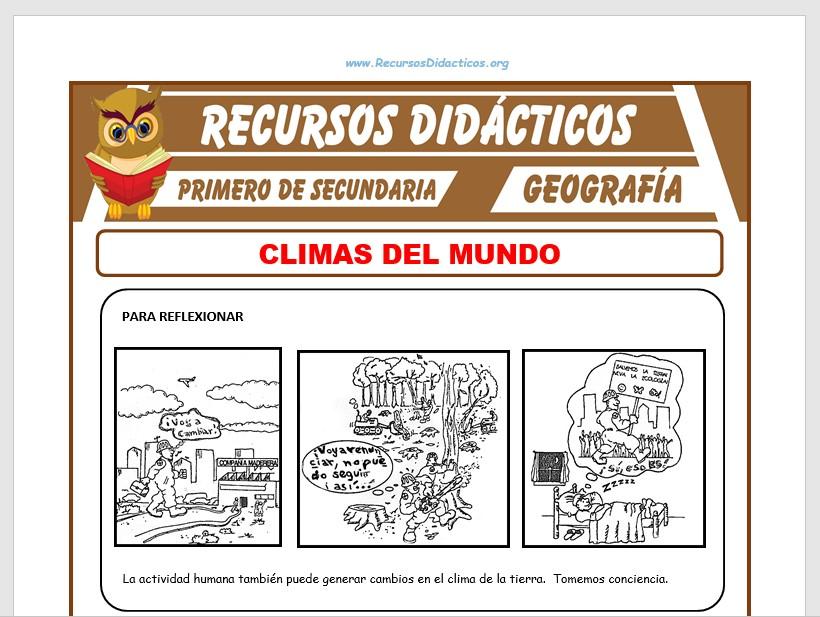 Ficha de Los Climas en el Mundo para Primero de Secundaria