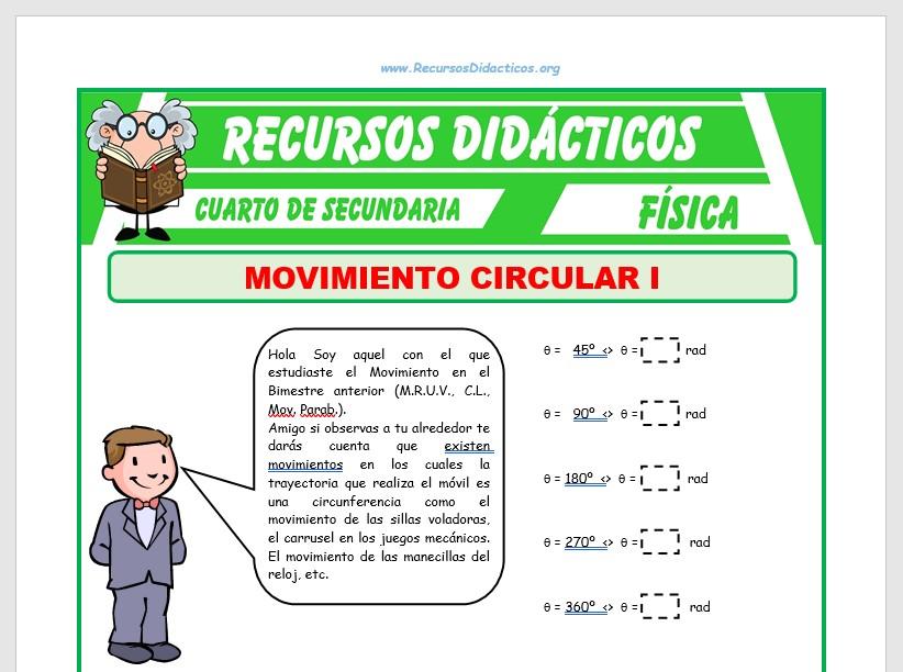 Ficha de Movimiento Circular Uniforme para Cuarto de Secundaria