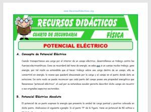 Ficha de Potencial Eléctrico para Cuarto de Secundaria