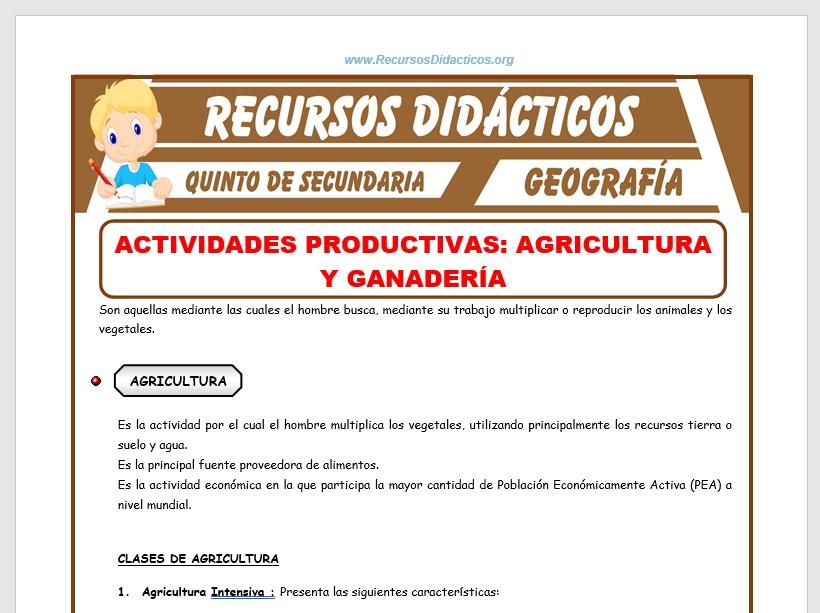 Ficha de Agricultura y Ganaderia para Quinto de Secundaria