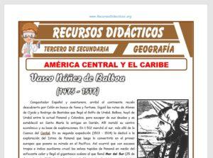 Ficha de América Central y el Caribe para Tercero de Secundaria
