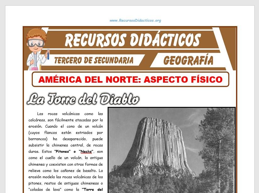 Ficha de Aspecto Físico de América del Norte para Tercero de Secundaria