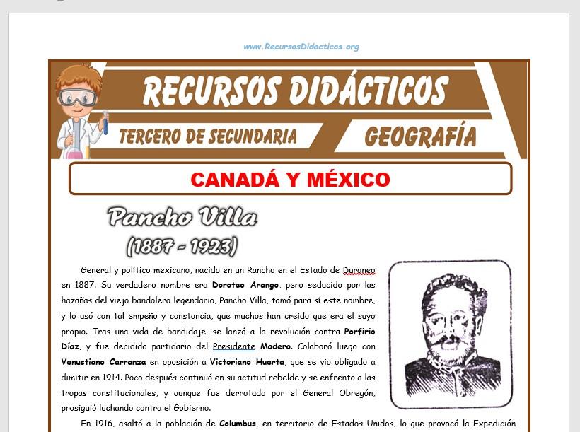 Ficha de Canadá y México para Tercero de Secundaria