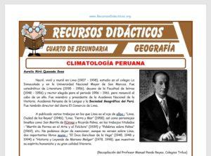 Ficha de Climatología Peruana para Cuarto de Secundaria