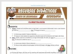 Ficha de Climatología para Cuarto de Secundaria