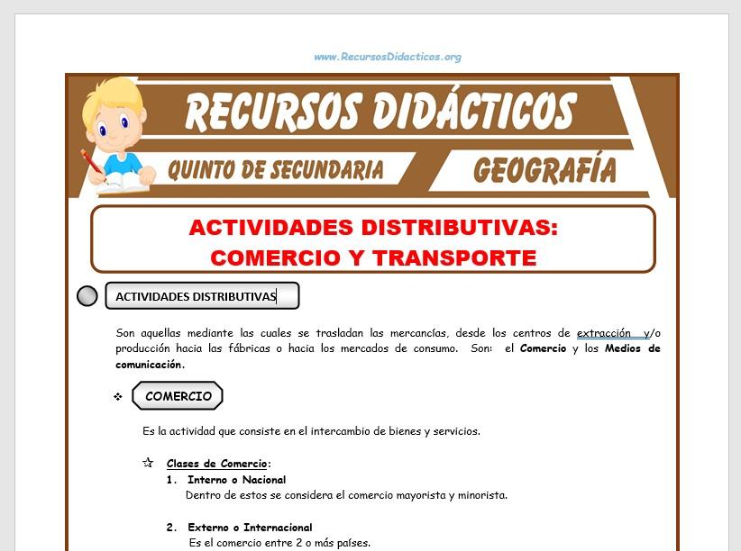 Ficha de Comercio y Transporte para Quinto de Secundaria