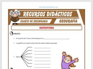 Ficha de Composición de la Geosfera para Cuarto de Secundaria