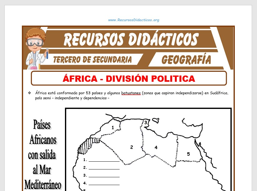 Ficha de División Política de África para Tercero de Secundaria