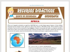 Ficha de El Continente Africano para Quinto de Secundaria