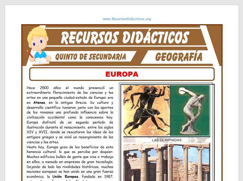 Ficha de El Continente Europeo para Quinto de Secundaria