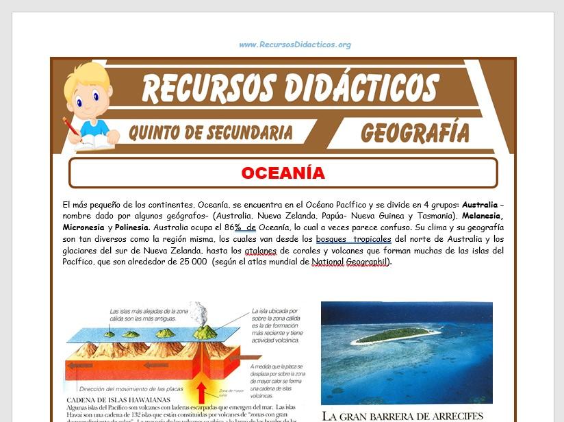 Ficha de El Continente de Oceanía para Quinto de Secundaria