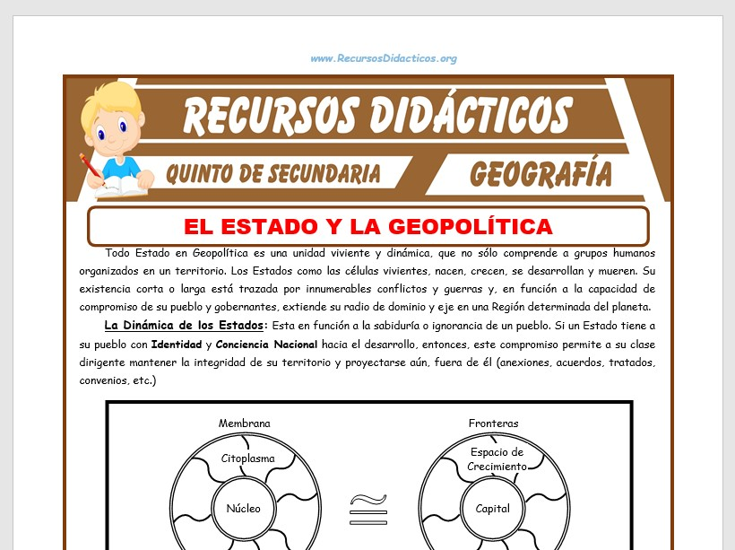 Ficha de El Estado y la Geopolítica para Quinto de Secundaria