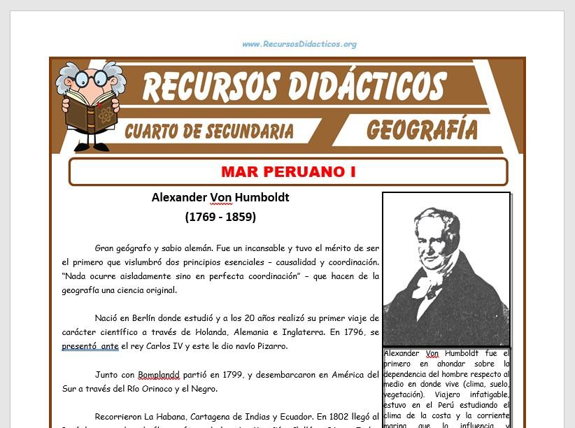 Ficha de El Mar del Perú para Cuarto de Secundaria