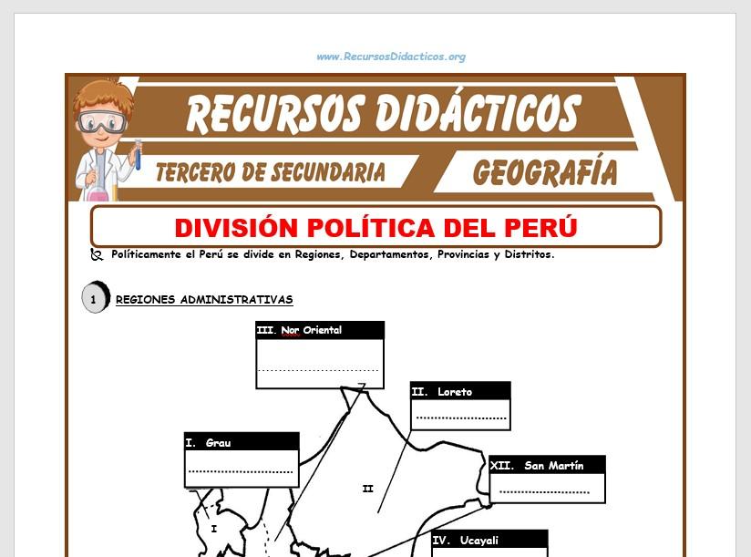 Ficha de El Perú y su División Política para Tercero de Secundaria