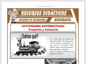 Ficha de El Transporte y el Comercio para Segundo de Secundaria