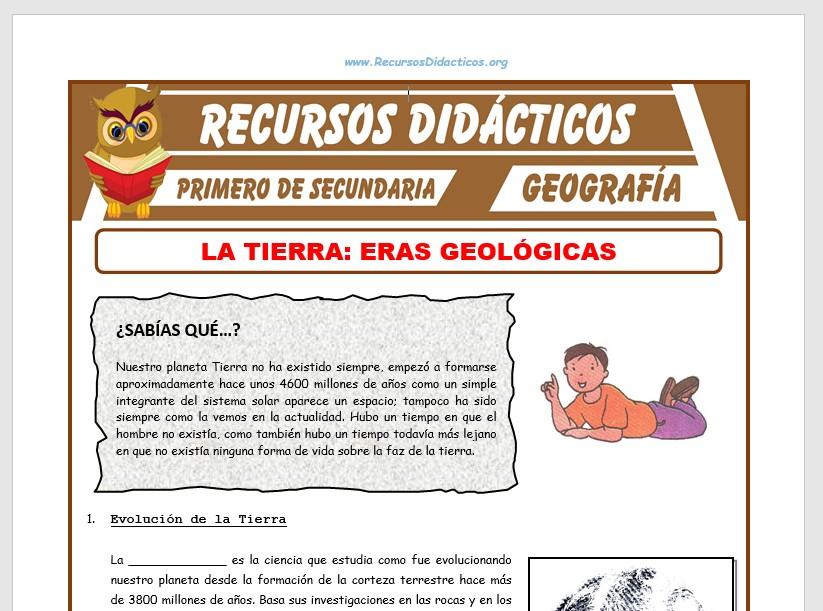 Ficha de Erás Geológicas para Primero de Secundaria