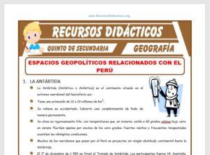 Ficha de Espacios Geopolíticos Relacionados con el Perú para Quinto de Secundaria
