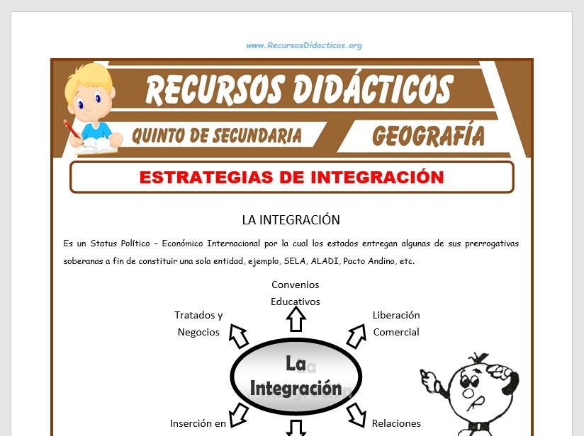 Ficha de Estrategias de Integración para Quinto de Secundaria