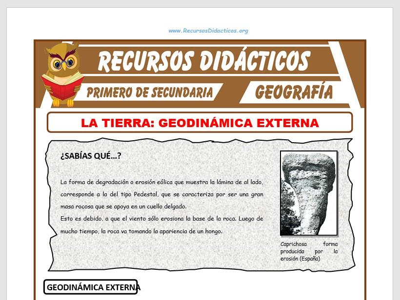 Ficha de Geodinámica Externa para Primero de Secundaria