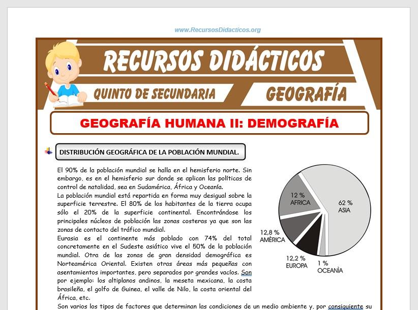 Ficha de Geografía Humana del Mundo para Quinto de Secundaria