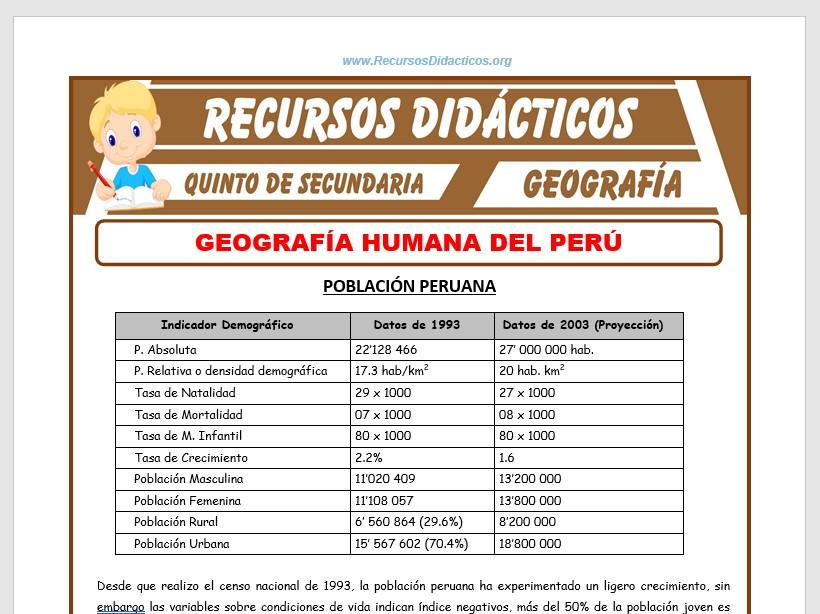 Ficha de Geografía Humana del Perú para Quinto de Secundaria