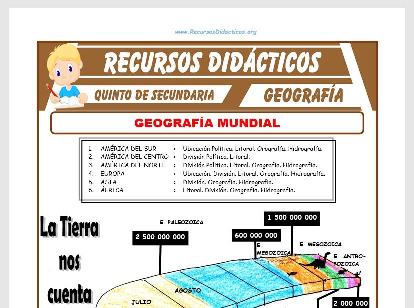 Ficha de Geografía del Mundo para Quinto de Secundaria