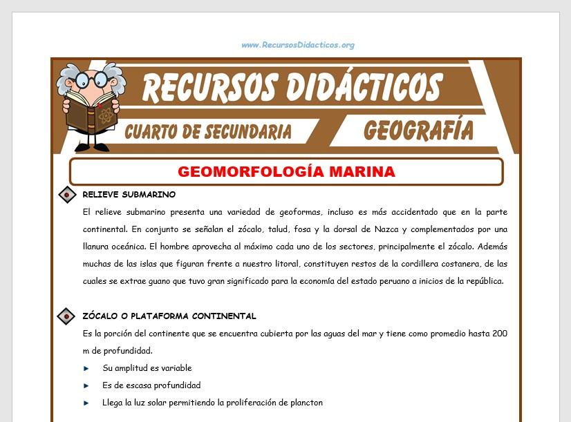Ficha de Geomorfología Marina para Cuarto de Secundaria