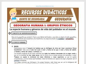 Ficha de Grupos Étnicos para Quinto de Secundaria