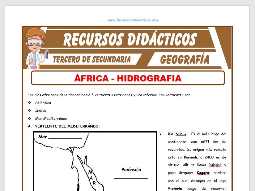 Ficha de Hidrografía de África para Tercero de Secundaria