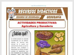 Ficha de La Agricultura y la Ganadería para Segundo de Secundaria