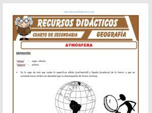 Ficha de La Atmósfera para Cuarto de Secundaria