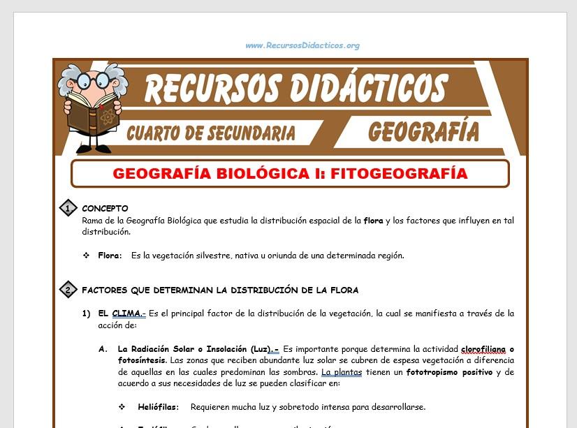 Ficha de La Fitogeografía para Cuarto de Secundaria