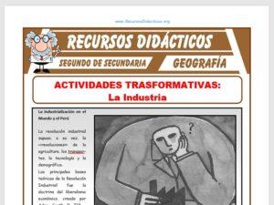 Ficha de La Industria para Segundo de Secundaria