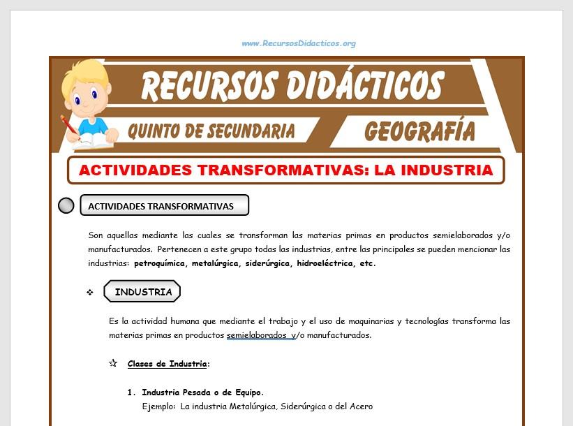 Ficha de La Industria y sus Clases para Quinto de Secundaria
