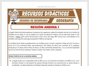 Ficha de La Región Andina para Segundo de Secundaria