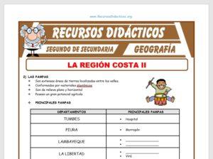 Ficha de La Región Costa II para Segundo de Secundaria