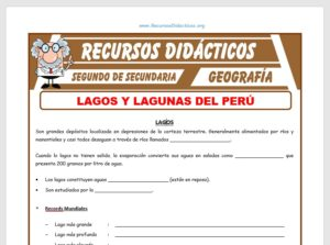 Ficha de Lagos y Lagunas para Segundo de Secundaria