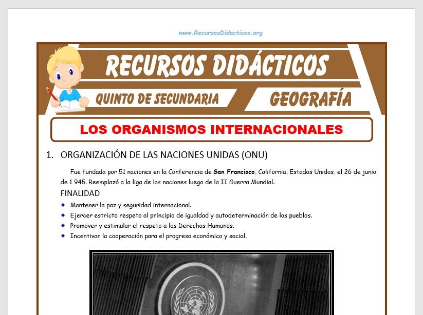 Ficha de Los Organismos Internacionales para Quinto de Secundaria