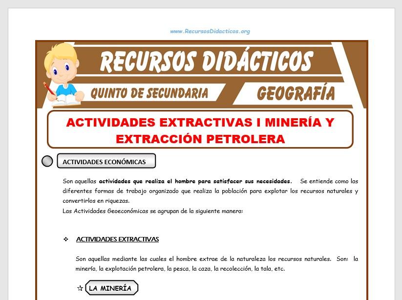 Ficha de Minería y Extracción Petrolera para Quinto de Secundaria