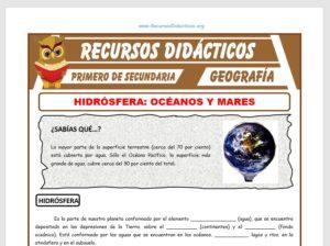 Ficha de Océanos y Mares para Primero de Secundaria