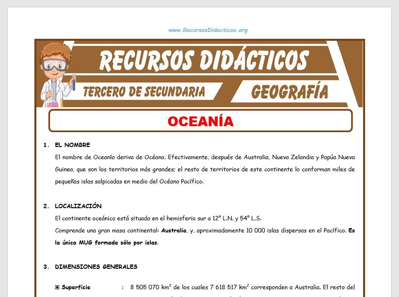 Ficha de Oceanía para Tercero de Secundaria