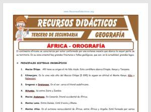 Ficha de Orografía de África para Tercero de Secundaria