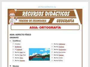 Ficha de Orografía de Asia para Tercero de Secundaria