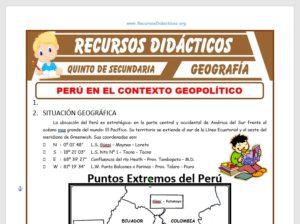 Ficha de Perú en el Contexto Geopolítico Internacional para Quinto de Secundaria