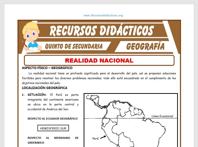 Ficha de Realidad Nacional del Perú para Quinto de Secundaria