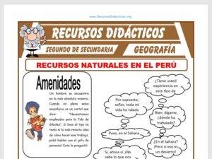 Ficha de Recursos Naturales en el Perú para Segundo de Secundaria