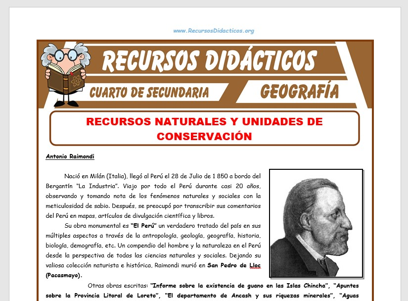 Ficha de Recursos Naturales y Unidades de Conservación para Cuarto de Secundaria
