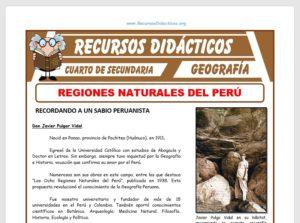 Ficha de Regiones Naturales del Perú para Cuarto de Secundaria